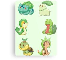 Pokemon Starters - Grass Types Metal Print