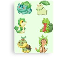 Pokemon Starters - Grass Types Canvas Print