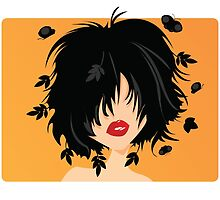 Young woman with black hair, leaves and butterflies coming out of her hair, on orange background by BlueLela