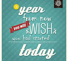 Quote, inspirational poster, typographical background, a year from now you will wish you had started today by BlueLela