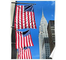 Stars and Stripes at Chrysler, New York City  Poster