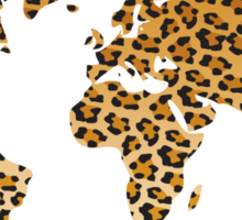 World map in animal print design, leopard pattern Sticker