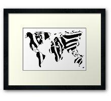 World map in animal print design, zebra pattern Framed Print