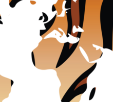 World map in animal print design, tiger pattern Sticker