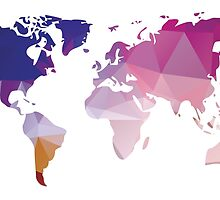 World map in geometric triangle pattern design by BlueLela