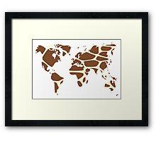 World map in animal print design, giraffe pattern Framed Print