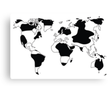 World map in animal print design, black and white Canvas Print
