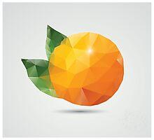 Geometric polygonal fruit, triangles, orange Photographic Print