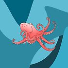 Smiling Octopus in the Blue Ocean by piedaydesigns