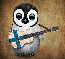 Baby Penguin Playing Finnish Flag Guitar by Jeff Bartels