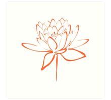 Lotus Flower Calligraphy (Orange) Art Print