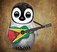 Baby Penguin Playing Guyanese Flag Guitar by Jeff Bartels