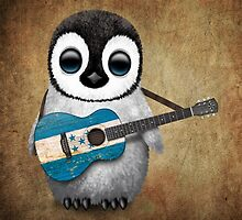 Baby Penguin Playing Honduran Flag Guitar by Jeff Bartels