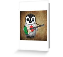 Baby Penguin Playing Italian Flag Guitar Greeting Card