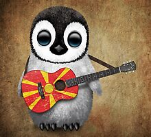 Baby Penguin Playing Macedonian Flag Guitar by Jeff Bartels