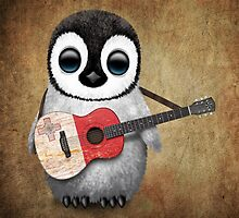 Baby Penguin Playing Maltese Flag Guitar by Jeff Bartels