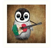 Baby Penguin Playing Mexican Flag Guitar Art Print