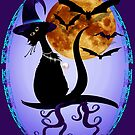 Bewitching Black Kitty Oval by Lotacats