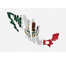 Mexico Typographic Map Flag Photographic Print