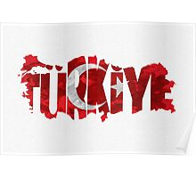 Turkey Typographic Map Flag Poster
