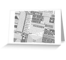 Wizarding Newspaper during Coffee (black&white) Greeting Card