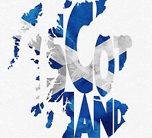 Scotland Typographic Map Flag by A. TW
