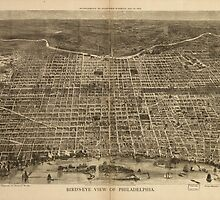 Vintage Pictorial Map of Philadelphia (1872) by BravuraMedia