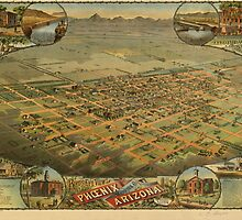 Vintage Pictorial Map of Phoenix Arizona (1885)  by BravuraMedia
