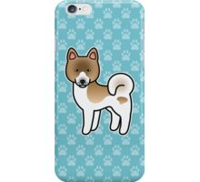 Brown Pinto Akita Dog Cartoon iPhone Case/Skin
