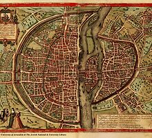 Vintage Map of Paris (1572)  by BravuraMedia