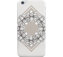 Black and white symmetric flowers iPhone Case/Skin