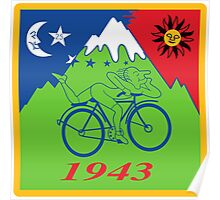 Hofmann Bike ride LSD Blotter Art Psychedelic Tee Poster