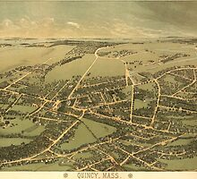 Vintage Pictorial Map of Quincy (1877) by BravuraMedia