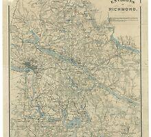 Vintage Map of The Richmond Virginia Area (1864) by BravuraMedia