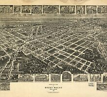 Vintage Pictorial Map of Rocky Mount NC (1907)  by BravuraMedia