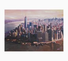 The unforgettable Skyline of New York City Manhattan with Freedom Tower at Dusk Kids Clothes