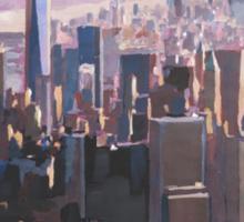 The unforgettable Skyline of New York City Manhattan with Freedom Tower at Dusk Sticker