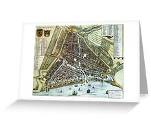 Vintage Map of Rotterdam Netherlands (1649) Greeting Card