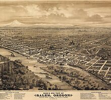 Vintage Pictorial Map of Salem Oregon (1876)  by BravuraMedia