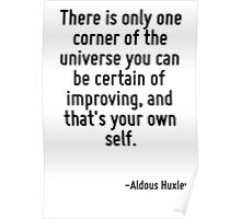 There is only one corner of the universe you can be certain of improving, and that's your own self. Poster