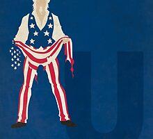 Uncle Sam - Superhero Minimalist Alphabet Print Art by justicedefender