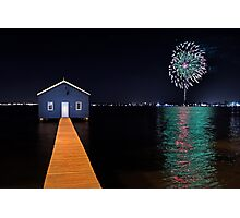 Crawley Edge Boatshed Fireworks  Photographic Print