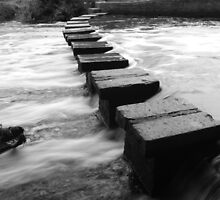 Batford Weir Stepping Stones B&W by PathfinderMedia