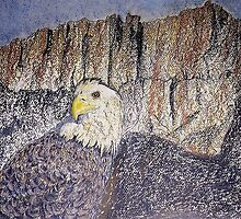 American Bald Eagle & Mt. Whitney by David M Scott