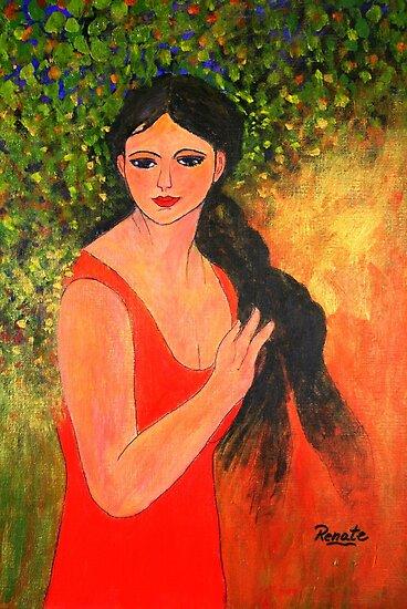 Girl braiding her hair.... by Renate  Dartois