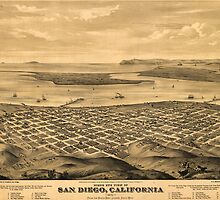 Vintage Pictorial Map of San Diego (1876) by BravuraMedia