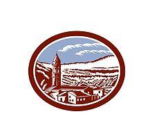 Church Belfry Tower Tuscany Italy Woodcut by patrimonio