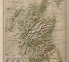 Vintage Physical Map of Scotland (1880) by BravuraMedia