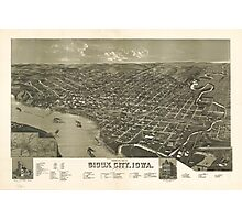 Vintage Pictorial Map of Sioux City Iowa (1888) Photographic Print