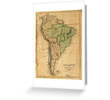 Vintage Map of South America (1821) Greeting Card